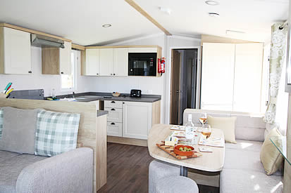 Static caravan holiday home interior